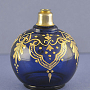 SALE Showy! Vintage, Cobalt Blue Colored, Round Shaped, Crystal Atomizer Perfume Bottle with .
