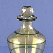 SOLD Shimmering! Vintage, Bulbous Shaped, Green & Clear Crystal, Perfume / Scent Bottle