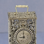 SALE RARE! 19th Century, Silver, Filigree, Clock Shaped Sewing Etui with Matching Perfume / ..