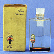 "SALE Vintage, ""Cara Nome"", by Langlois, Clear & Frosted Glass, Mini, Commercial, Perfume ."