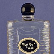 """SALE Striking! Circa 1945, American, """"Black Magic"""" by Bombi, Clear Glass, Commercial ..."""