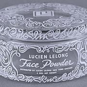 SALE Circa 1940's, French, Lucien Lelong, Clear Glass, Face Powder / Trinket Jar