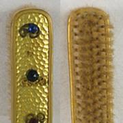 SALE Sparkly! Vintage, Hammered, Metal, Multi-Colored, Jeweled Hair Brush / Vanity Dresser Set