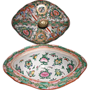 Chinese Export porcelain Rose Medallion Oval covered serving dish