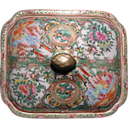 Chinese Export porcelain Rose Medallion rectangular covered serving dish