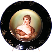 Rosenthal Germany portrait cabinet plate with a cobalt blue border