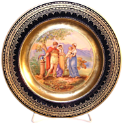 Cobalt blue Vienna transfer decorated plate with a central design depicting of the birth of ..