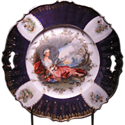 "R.S. Prussia Figural Decorated cake plate ""DIANA THE HUNTRESS"""