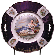 "R.S. Prussia Floral Decorated cake plate ""FLORA"""
