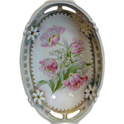 Beautiful Transfer decorated serving dish with pink tulips and white lily of the valley with .