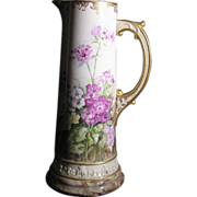 Large American Belleek CAC porcelain tankard with very detailed hand painted floral decoration