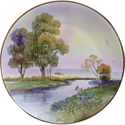 Hand painted Nippon scenic wall plate with Moriage decorated flowers