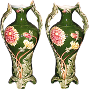 SALE French Art Nouveau majolica pottery vases with dandelion leaf handles and decorations