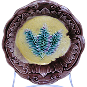 Exquisite scalloped edge majolica dish with raised fern decorations