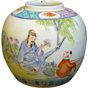 Hand painted Chinese export round jar with Teacher and student decorated design in the Family