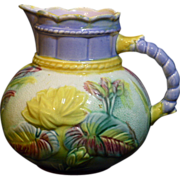 Beautiful antique pitcher by Samuel Lear and features the Water Lily and Rope design