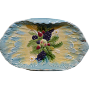 Beautiful American Majolica tray has a raised fruit grouping as its center design on a ...