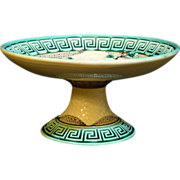 beautiful Majolica Compote that consists of a green Greek key design.