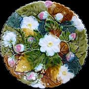 Antique Majolica Scalloped edge Strawberry decorated plate