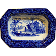 "Rare English Staffordshire Dark Blue Ironstone Serving Dish ""Palermo"" by J Clementson"