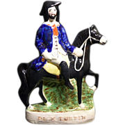 "Antique Victorian English Staffordshire figurine of ""Dick Turpin"", 19th century"