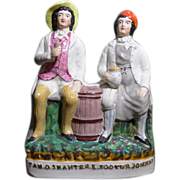 Antique Victorian, circa 1892 Staffordshire figure of Tam O' Shanter and his friend Scouter ..