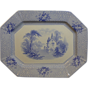 Beautiful Light Blue English Ironstone transfer decorated platter marked on the back in blue .