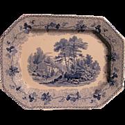 Rare Staffordshire Dark Blue Transferware Platter