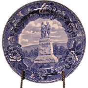 "Wedgwood Etruria Transferware Blue & white Plate "" Monument Commemorating Battle of Lake ..."