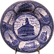 """Rowland & Marcellus Co """"Historical Boston"""" Faneuil Hall, Historic Blue Rolled edge Plate"""