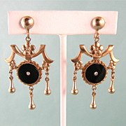 SALE Ornate Victorian Revival Earrings c1950, Long and Large
