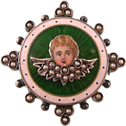 REDUCED Antique Victorian Angel Cherub Brooch Pendant with Enamel and Seed Pearls in Gold ...