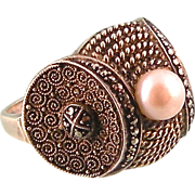 REDUCED Signed Theodor Fahrner TF Sterling Germany Ring with Cultured Pearl and Marcasites, ..