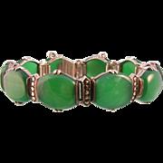 Art Deco Link Bracelet, Chrysoprase, Marcasites, and Sterling Silver by Wachenheimer