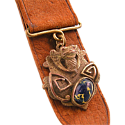 Art Nouveau Watch Fob with Fantastic Winged Reptile, Art Glass, and Leather Strap