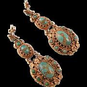 "Austro-Hungarian Earrings, Very Elaborate,  2-3/8"""