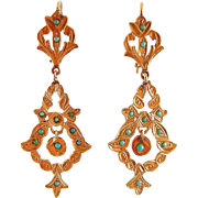 """Antique Victorian Long Earrings in 14K Yellow Gold with Turquoise Stones, 2-1/2"""""""