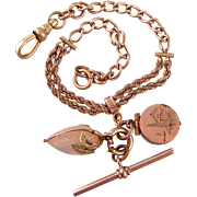 Antique Victorian Watch Chain Bracelet with Charm, Locket, and T-Bar