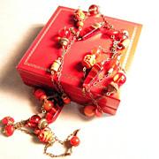 "Art Deco Long Necklace, Vivid Multicolor Beads, 52"""