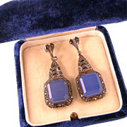 Art Deco Blue Chalcedony Earrings with Marcasites, Sterling Germany, Post Backs for Pierced ..