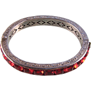 """Art Deco Sterling Silver Channel-Set Paste Bangle in True Red, 3/8"""" Biggest Size"""
