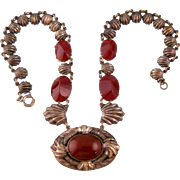 Art Deco Necklace with Shell Motif, Genuine Carnelian and Carnelian Glass