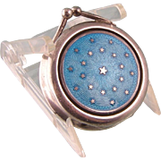 Antique Pillbox or Trinket Box, Blue Guilloche Enameling, 800 Silver with Gold Stars