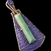 Art Deco Theodor Fahrner TF Pendant, Amazonite, Enamel, and Marcasites, in Sterling Silver