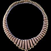 Art Deco Black Bakelite and Sparkling Rhinestone Collar Necklace, DRGM