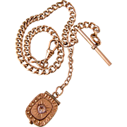Antique Locket with Paste on Watch Chain, Gold Fill, Marked