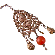 SALE Antique Tribal Pendant with Bird and Carnelian, Afghanistan