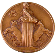 Art Deco Bronze Medal, Maiden with Goats, Satyr, France, 1935