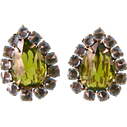 Vintage Schreiner Earrings in Dazzling Lime and Aqua