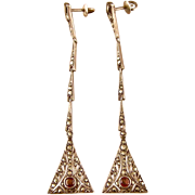 """Art Deco Marcasite Earrings with Garnet Accents, Germany, Exquisite, 3"""" Long"""